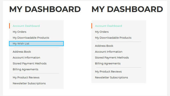 Remove magento navigation links from My Account dashboard